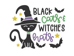BLACK CATS WITCHES HATS