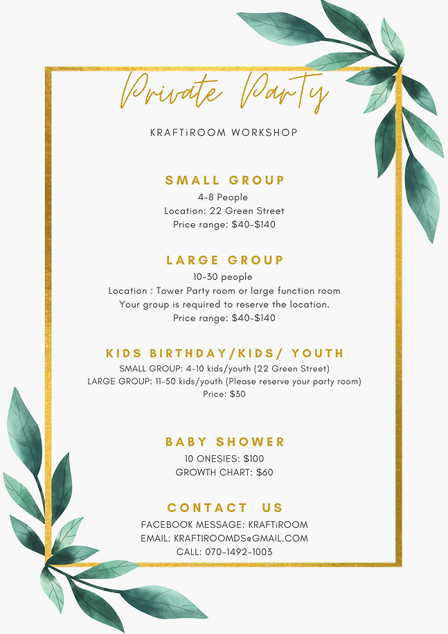 PRIVATE PARTY MENU