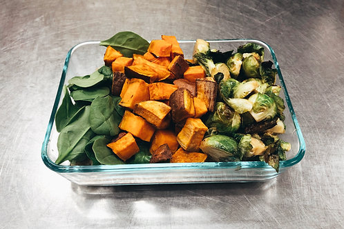 Miso Brussels Sprouts + Roasted Sweet Potatoes with Organic Spinach +Quinoa