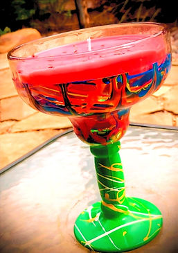 Smashup top shelf signture hand painted margarita glass and candle