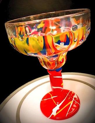 Top Shelf Signature Margarita Glass, no candle (red stem)