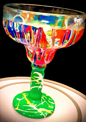 Top Shelf Signature Margarita Glass, no candle (green stem)