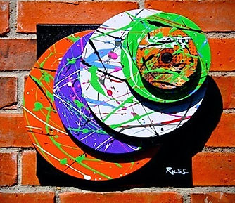 Vinyl record sculpture urban art