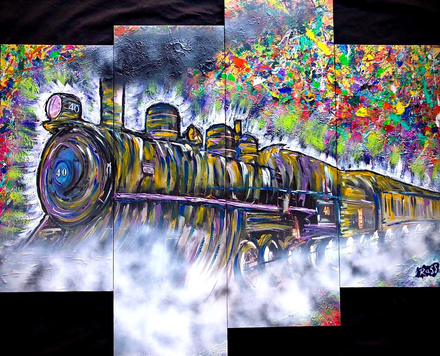 Smashup Studios urban vibrant visul art steam engine train