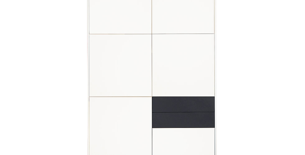 Dulap dormitor COD cu 3 sertare Grey and White, din Mdf alb si gri mat