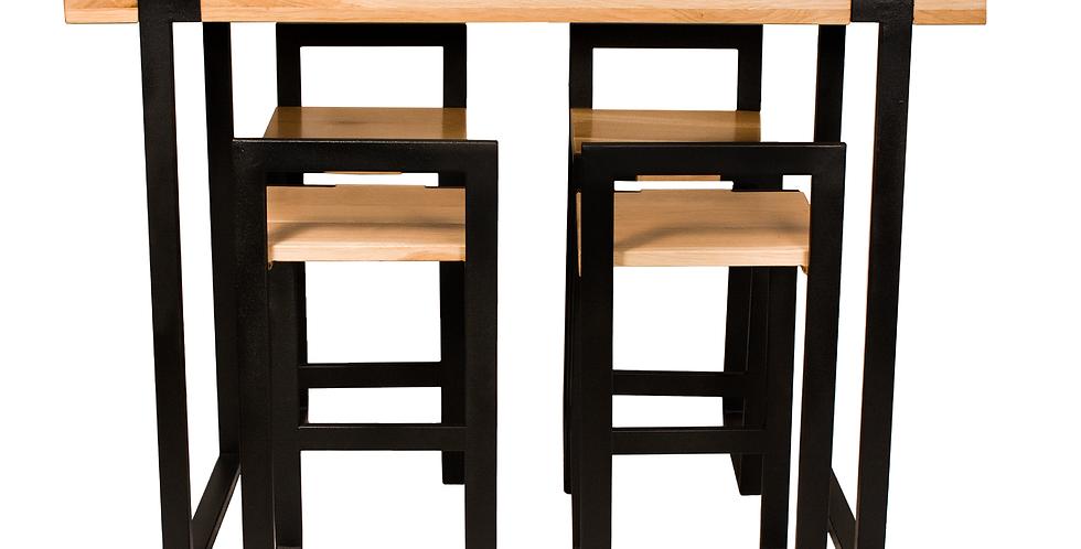 Set masa si scaune de bar din lemn
