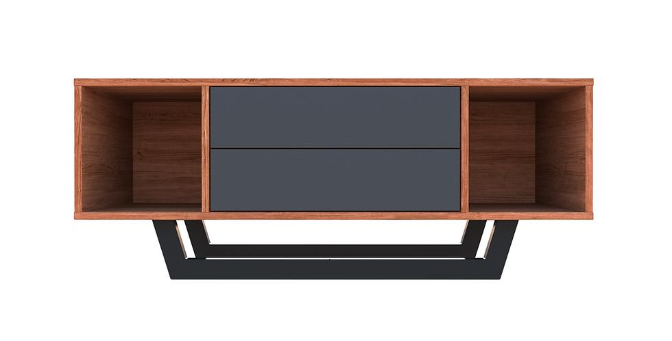 comoda tv mica, cu sertare gri, lemn de nuc, oldroot