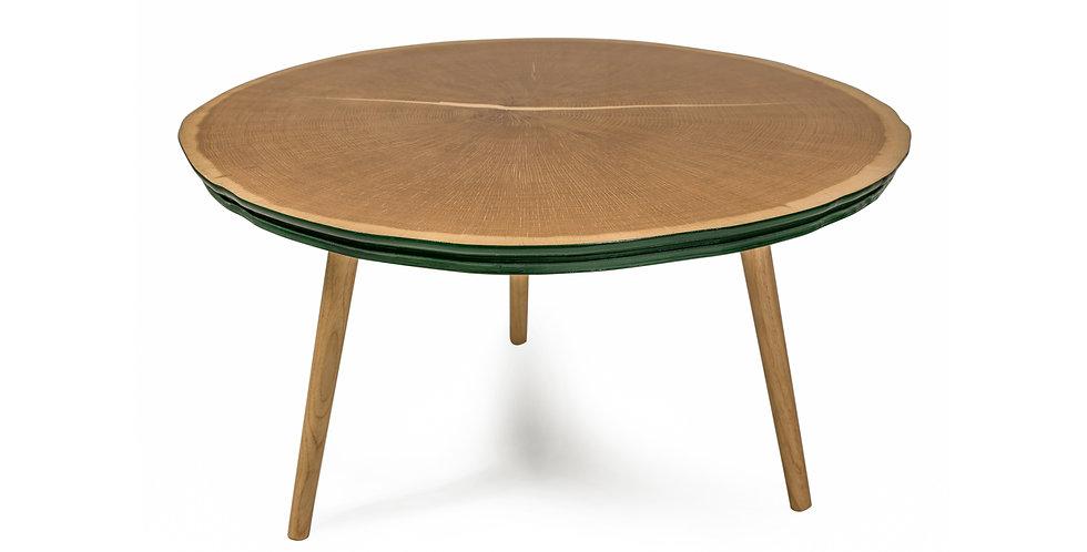 masa cafea rotunda verde din lemn