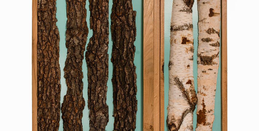 Decoratiune perete turcoaz din lemn
