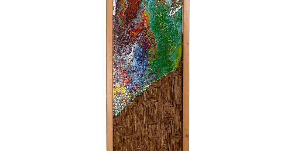 decor perete de tip tablou, culori acrilice si lemn