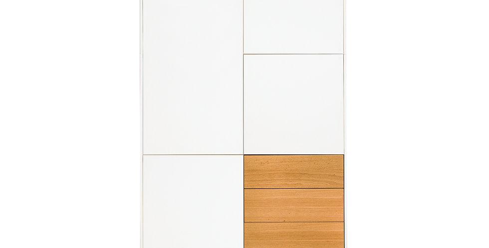 dulap dormitor cu 5 usi albe si 3 sertare lemn natur