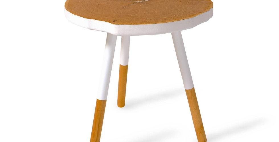 masa cafea rotunda cu lemn alb