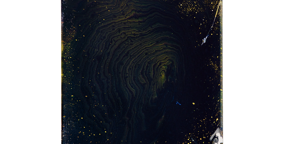 Tablou pictat pe panza, galben, albastru