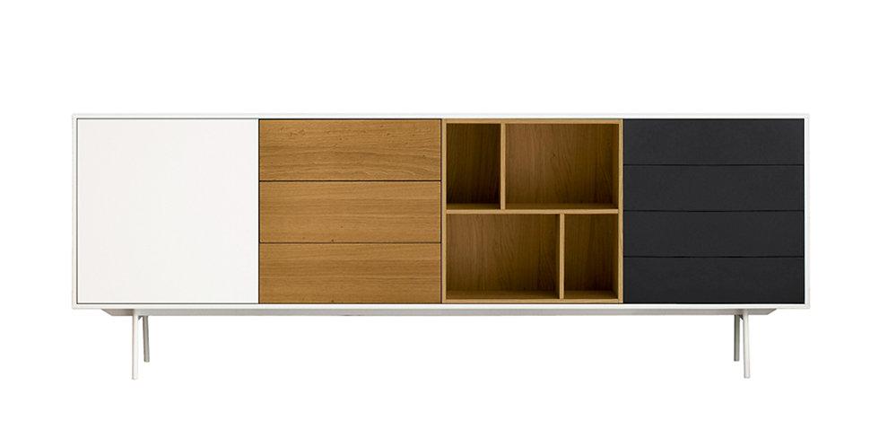 Comoda Cod Close to Nature, 7 sertare,Mdf alb, gri mat, 2436 x 450 x 836 mm