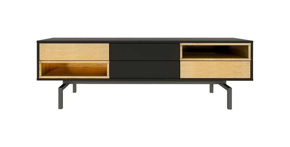 Comoda tv, negru mat, auriu, metalic, sertare