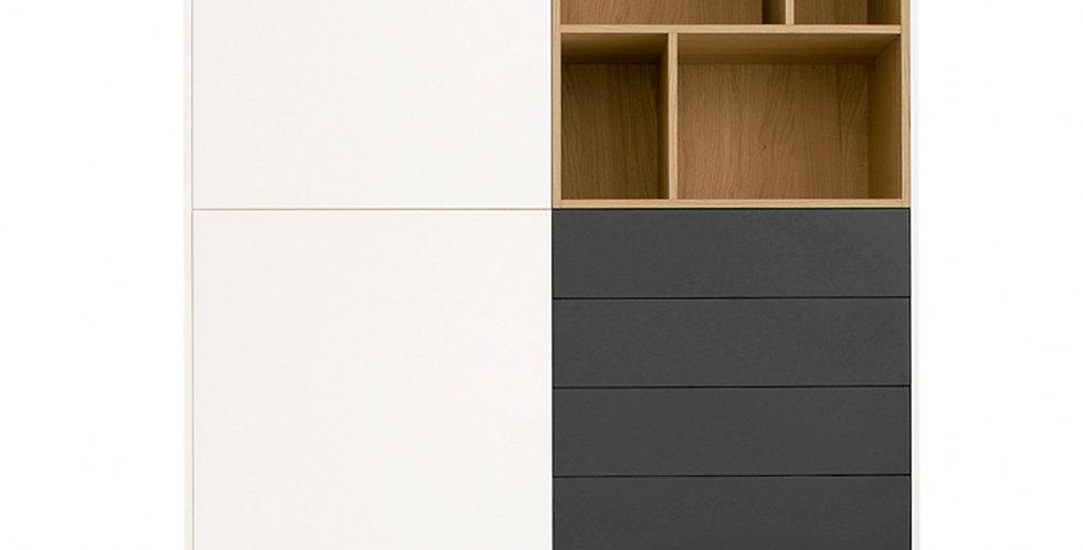 dulap alb atipic cu 4 sertare gri si nisa lemn