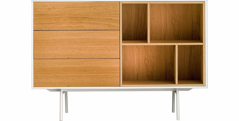 comoda cod cu 3 sertare lemn natur si nisa Mdf furniruit