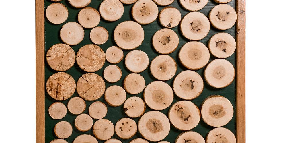 Decoratiune perete,verde padure, de tip tablou, din lemn