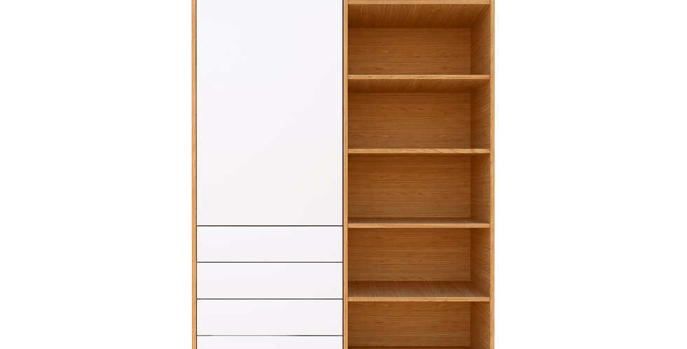 Dulap dormitor, alb mat, stejar, cu sertare