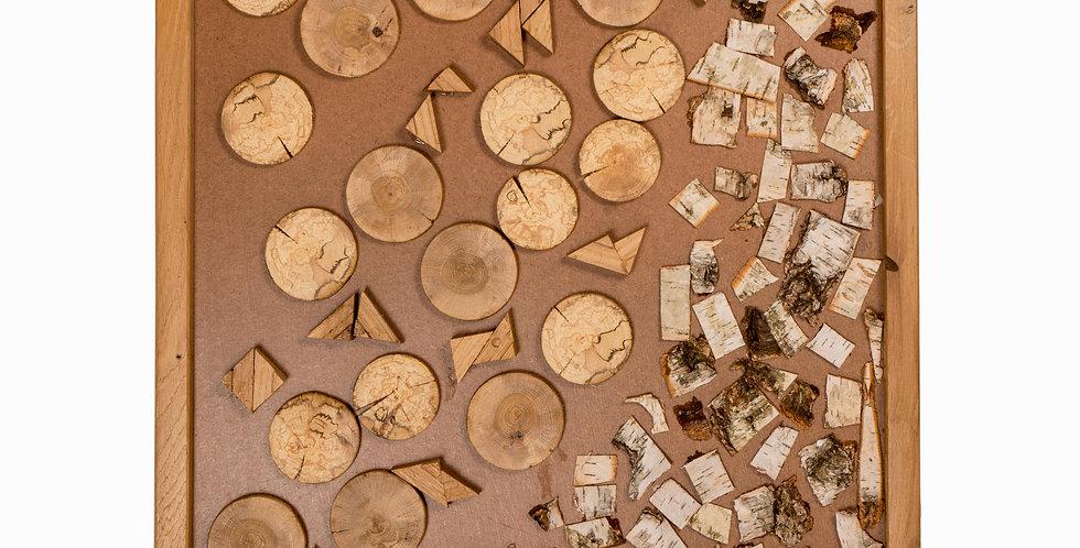 Decoratiune perete de tip tablou decor din lemn cu forme asimetrice