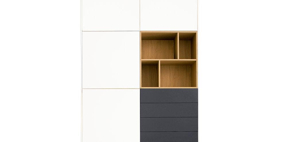 dulap alb de dormitor cu 4 sertare gri si nisa lemn natur