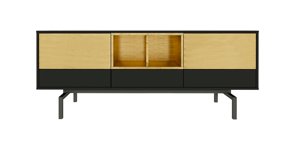 Comoda tv auriu metalic, negru mat, sertare