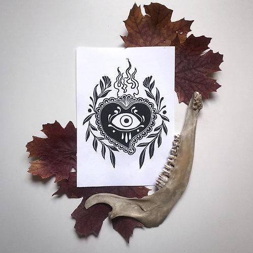 Sacred Heart linoprint