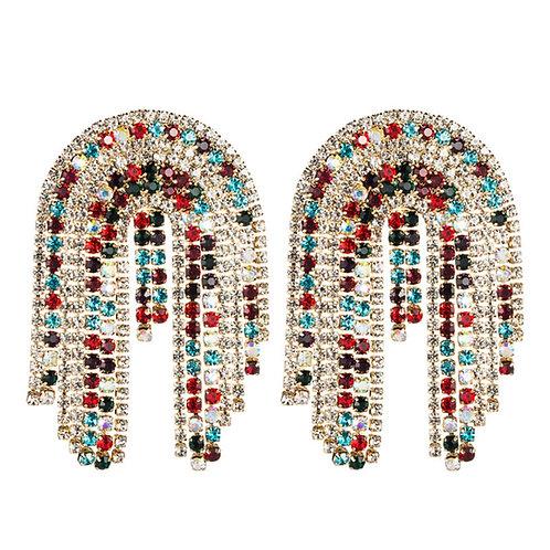 Multi layer tassel earrings