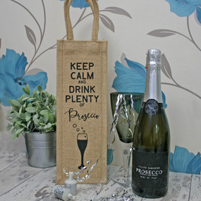 Keep calm and drink plenty of prosecco. Make gifting a bottle of prosecco that much more sparkly with the gold thread weaved into the bag.