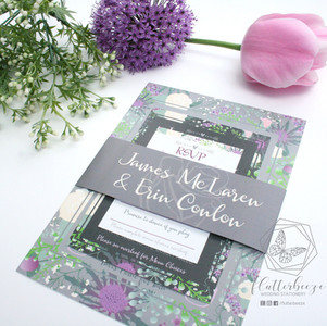 Grey and Purple Floral Set
