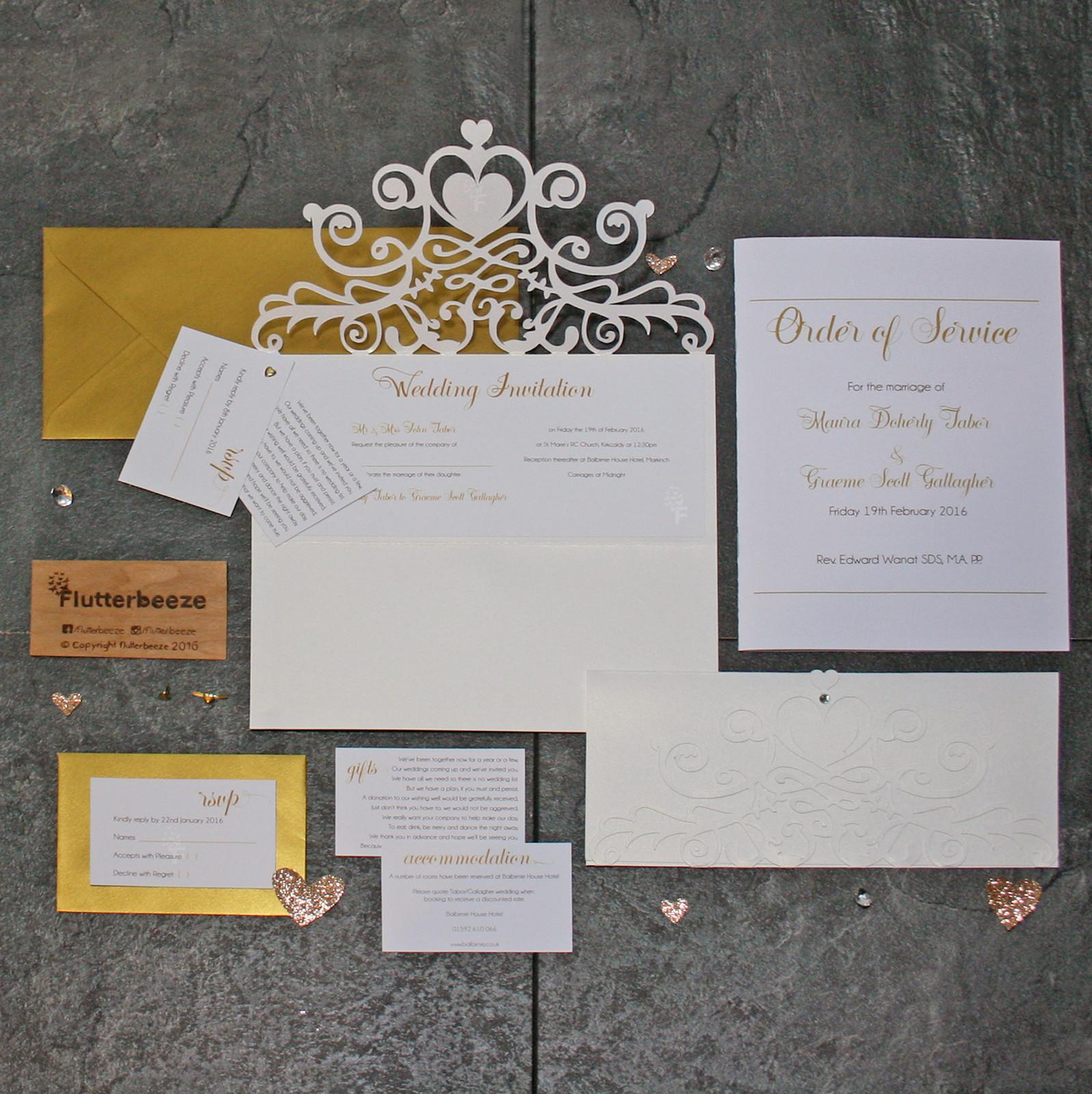 Papercut Gold Lace style Invitation set