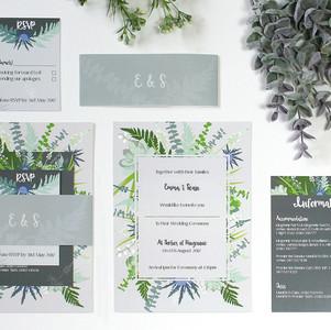 Grey & Greenery Invitations