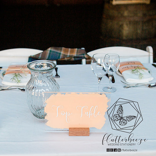 A5 Acrylic Table numbers with wooden stands