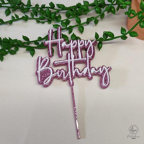 Happy Birthday - Double layer cake topper