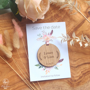 Wooden hanging save the date