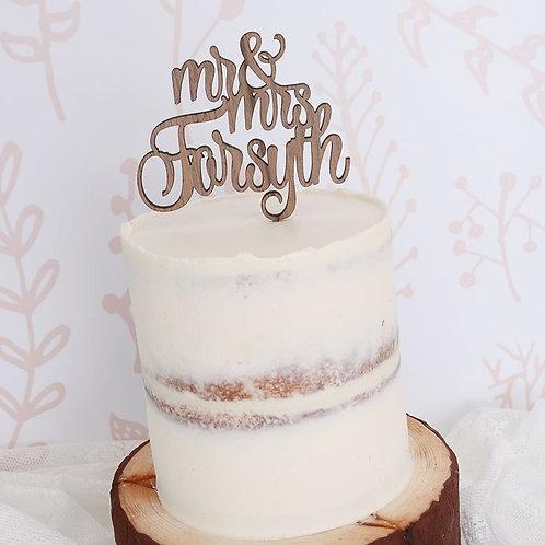 Fancy Script Surname Cake Topper
