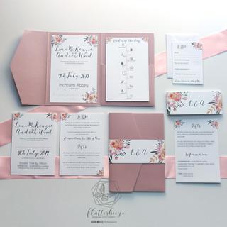 Blush pink pocketfold
