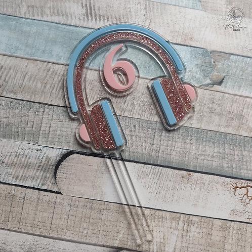 Headphones - Double layer cake topper