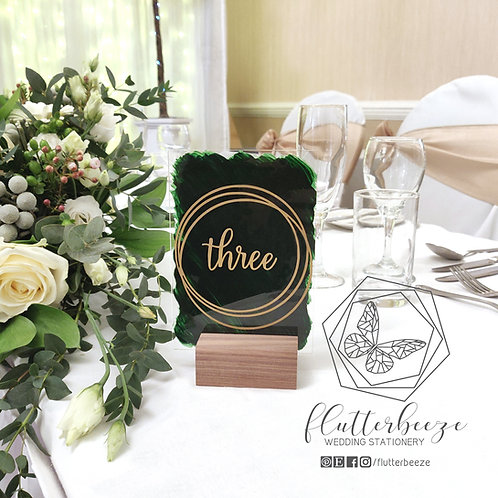 A6 Acrylic Table numbers with wooden stands