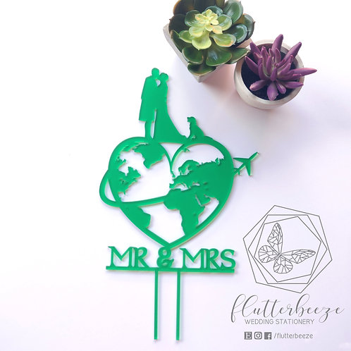 Around the World Cake Topper