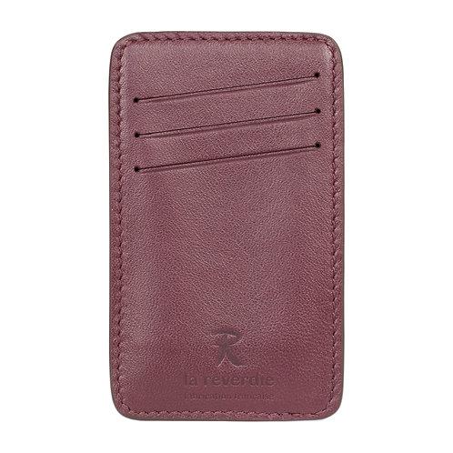 porte-cartes en cuir prune