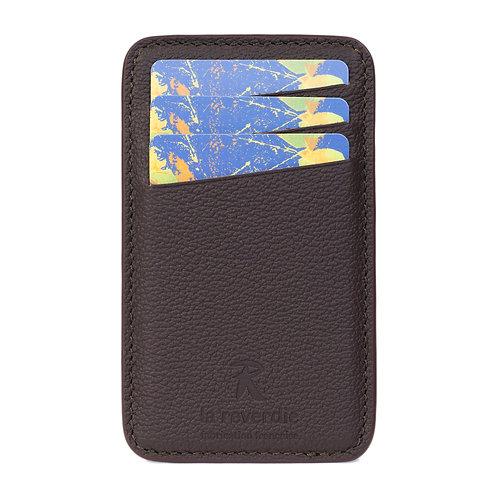 porte-cartes en cuir brun marron