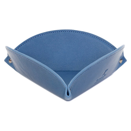 vide-poche en cuir bleu