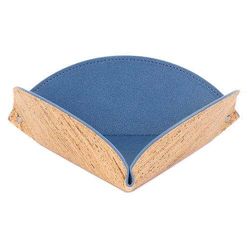 vide-poche en cuir bleu et en liège