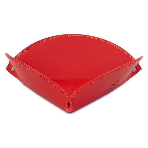 vide-poche en cuir rouge