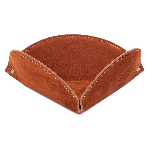 vide-poche en cuir brun marron suédé velour