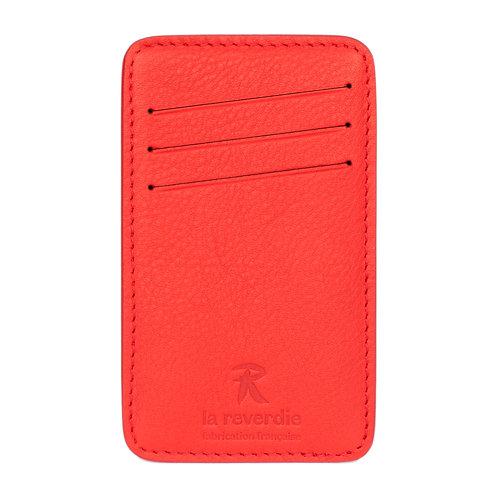 porte-cartes en cuir rouge