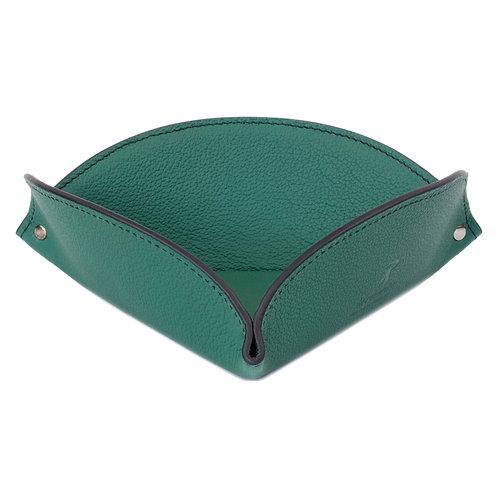 vide-poche en cuir vert