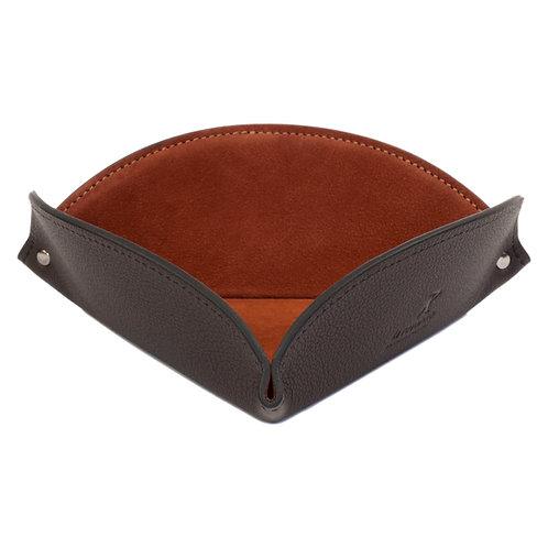 vide-poche en cuir noir et brun marron suédé velour
