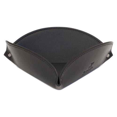vide-poche en cuir noir
